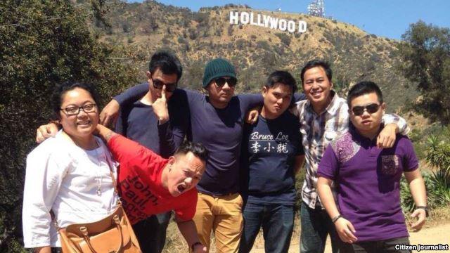 Pandji Pragiwaksono (ke-2 dari kanan) bersama tim di Los Angeles, California (foto/dok: Endah Redjeki).